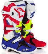 ALPINESTARS TECH 10 BOOT  BLUE/RED/CYAN/YELLOW